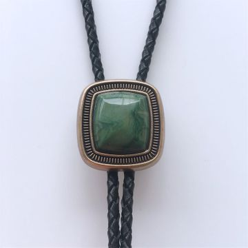Original Antique Gold Plated Handcraft Nature ZA Greenstone Bolo Tie Necklace