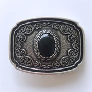 Original Vintage Silver Plated Nature Black Obsidian Stone Western Cowboy Cowgirl Belt Buckle