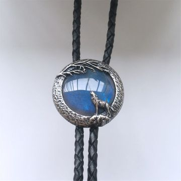 Original Wolf Handcraft Nature Labradorite Stone Round Wedding Men Bolo Tie