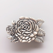 New Vintage Silver Plated 3D Sculpt Western Rose Flower Belt Buckle Gurtelschnalle Boucle de ceinture