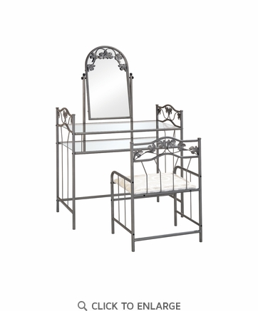 2-piece Metal Vanity Set with Glass Top Pewter and Ivory