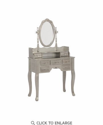 2-piece Vanity Set in Metallic Silver and White