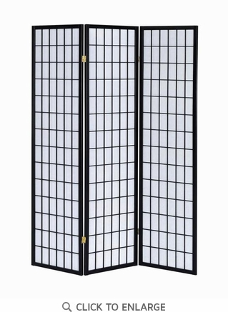 3 Panel Black Folding Screen/Room Divider by Coaster
