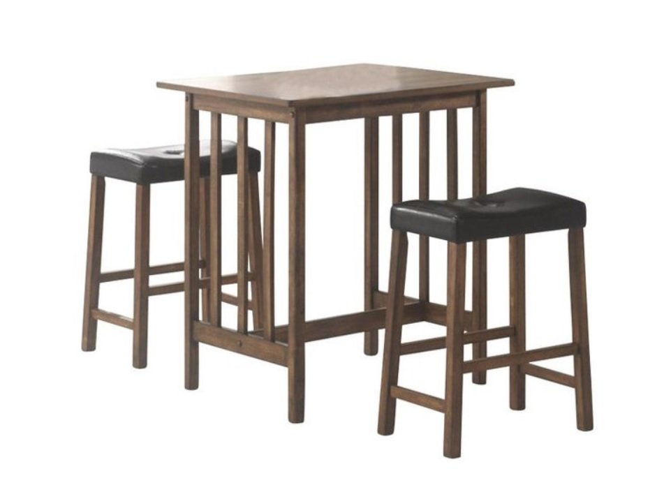 Marvelous 3 Piece Nut Brown Counter Height Bar Table And Stool Ibusinesslaw Wood Chair Design Ideas Ibusinesslaworg