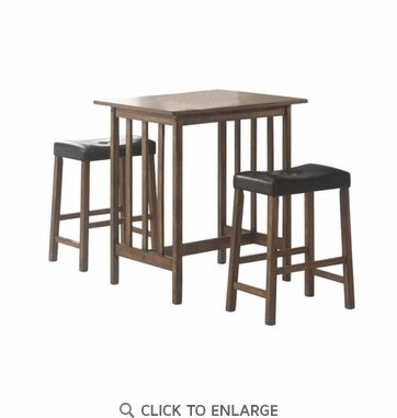 3 Piece Nut Brown Counter Height Bar Table and Stool Dinette Set