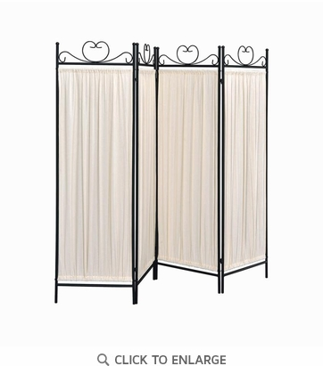 4 Panel Black Wrought Iron Room Divider