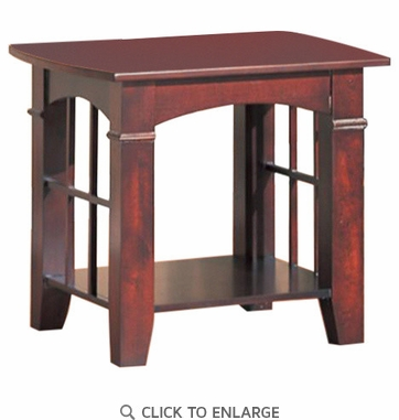Abernathy Cherry Finish End Table with Shelf by Coaster 700007
