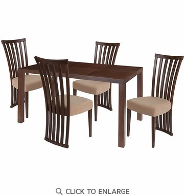 Addison 5 Piece Walnut Wood Dining Table Set with Dramatic Rail Back Design Wood Dining Chairs - Padded Seats [ES-48-GG]