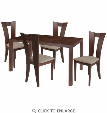 Ardley 5 Piece Walnut Wood Dining Table Set with Slotted Back Wood Dining Chairs - Padded Seats [ES-47-GG]