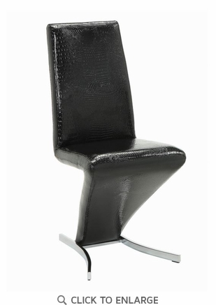 Barzini Dining Contemporary Black Faux Leather Side Chair - Set of 2