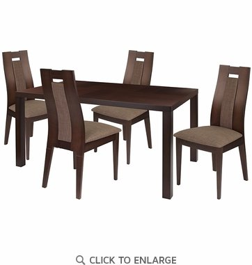 Beckham 5 Piece Espresso Wood Dining Table Set with Curved Slat Wood Dining Chairs - Padded Seats [ES-31-GG]