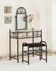 Black Heart Shaped Metal Make Up Vanity and Stool