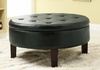 Black Leather-Like Vinyl Round Storage Ottoman with Tufted Top