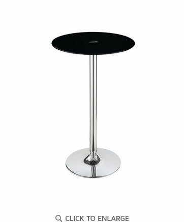 Black Round Glass Top Bar Table with Chrome Finish by Coaster 121341