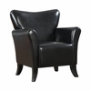 Black Vinyl Upholstered Flared Arm Accent Chair