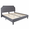 Brighton King Size Tufted Upholstered Platform Bed in Light Grey Fabric