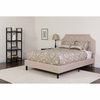 Brighton Queen Size Tufted Upholstered Platform Bed in Beige Fabric with Pocket Spring Mattress [SL-BM-3-GG]