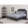 Brighton Queen Size Tufted Upholstered Platform Bed in Dark Grey Fabric