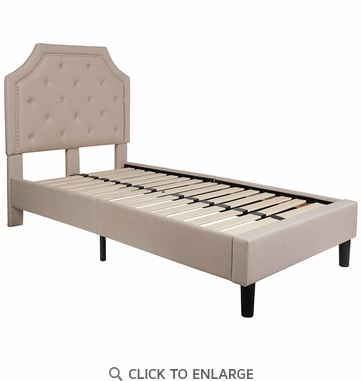 Brighton Twin Size Tufted Upholstered Platform Bed in Beige Fabric