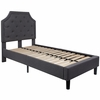 Brighton Twin Size Tufted Upholstered Platform Bed in Dark Grey Fabric