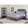 Brighton Twin Size Tufted Upholstered Platform Bed in Light Grey Fabric
