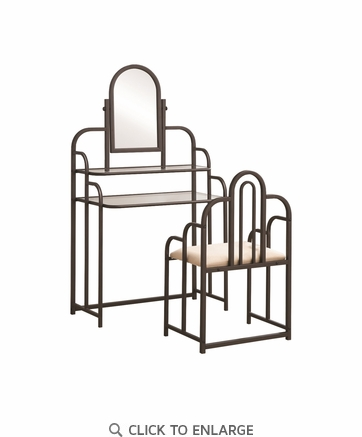 Cappuccino Finish Vanity Table and Stool Set with Mirror