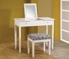 Casual White Finish Flip Top Style Vanity Table and Stool Set
