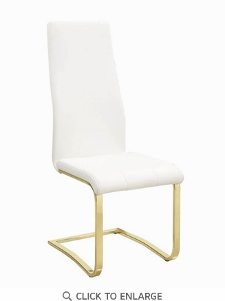 Chanel Modern White and Rustic Brass Dining Chair 190512 - Set of 4