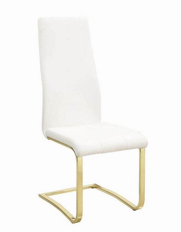 Awe Inspiring Chanel Modern White And Rustic Brass Dining Chair 190512 Ncnpc Chair Design For Home Ncnpcorg
