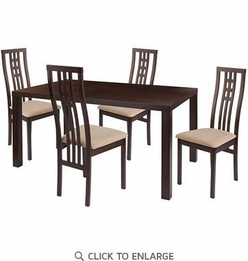 Chatham 5 Piece Espresso Wood Dining Table Set with High Triple Window Pane Back Wood Dining Chairs - Padded Seats [ES-39-GG]