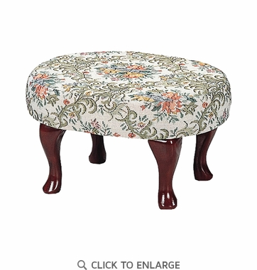 Cherry Finish Floral Upholstered Foot Stool