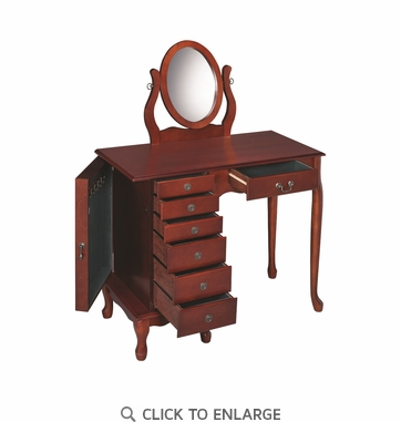 Cherry Finish Make Up Vanity Table and Stool Set