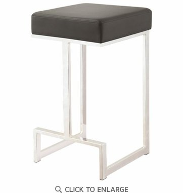 Contemporary Black Counter Height Stool with Chrome Base by Coaster 105253