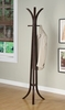 Contemporary Cappuccino Wood Coat Rack Hall Tree