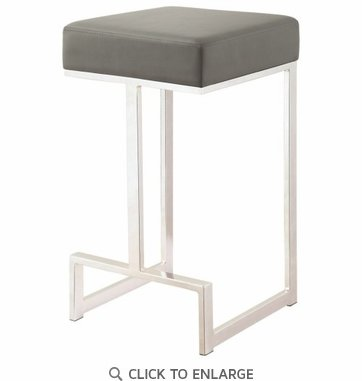 Contemporary Grey Counter Height Stool with Chrome Base by Coaster 105252