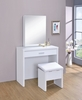 Contemporary White Vanity Table and Stool with Hidden Storage