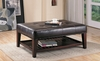 Dark Brown Faux Leather Tufted Ottoman with Shelf