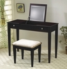 Espresso Flip Top Make Up Vanity Table and Stool