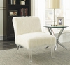 Faux Sheepskin Upholstered Accent Chair in White and Acrylic