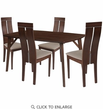 Graham 5 Piece Walnut Wood Dining Table Set with Clean Line Wood Dining Chairs - Padded Seats [ES-21-GG]