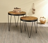 Industrial Honey and Black Round Nested Table Set