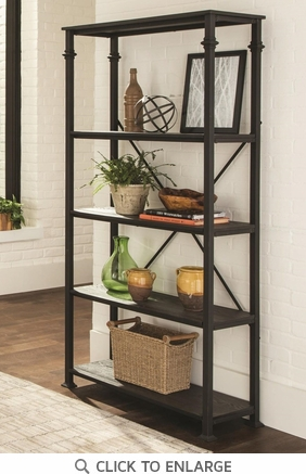 Industrial Style Metal and Wood Four Shelf Bookcase by Coaster 801439