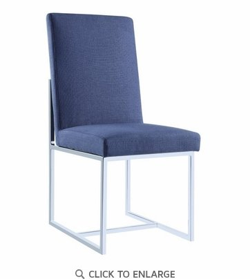 Jackson Floating Dining Side Chair in Blue with Chrome Base 107142 - Set of 2