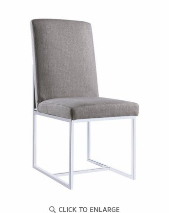 Jackson Floating Dining Side Chair in Grey with Chrome Base 107143 - Set of 2
