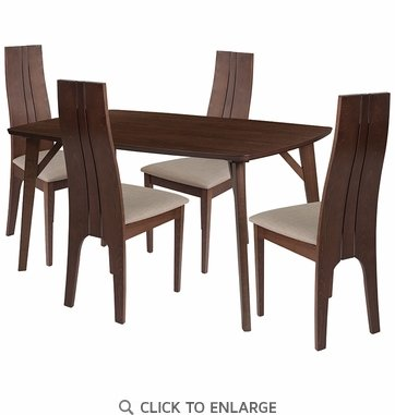 Kensington 5 Piece Walnut Wood Dining Table Set with Padded Wood Dining Chairs [ES-22-GG]