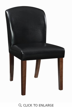 Louise Black Faux Leather Upholstered Dining Chair with Walnut Legs, Set of 2