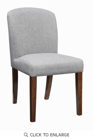 Louise Grey Fabric Upholstered Dining Chair with Walnut Legs, Set of 2