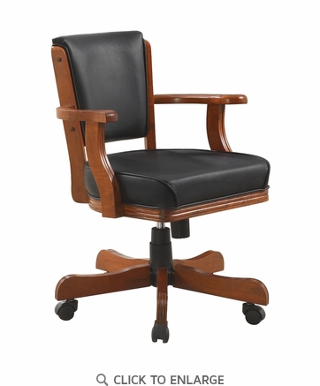 Mitchell Upholstered Game Chair in Chestnut and Black