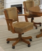 Mitchell Upholstered Game Chair in Olive-brown and Amber