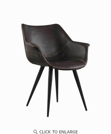 Modern Brown and Grey Dining Chair with Black Legs - Set of 2